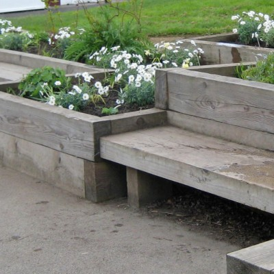 School sensory garden, raised bed and seat