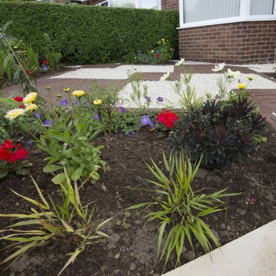 Planting and brick paving, Cookridge front garden