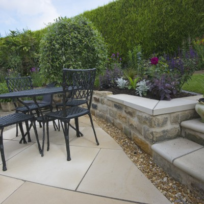 Back garden Alwoodley with stylish steps