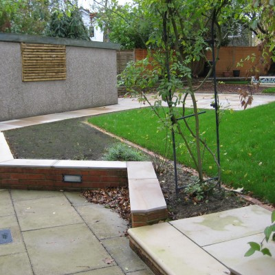 Newly constructed back garden with patio, Shadwell, Leeds