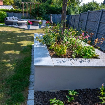 Planted raised bed, patio and pergola, Adel Leeds