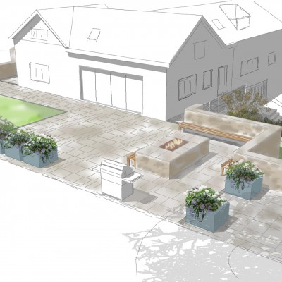 Visual showing proposed back garden with raised planters and fire pit, Roundhay, Leeds