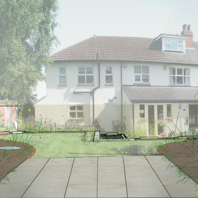 Bee friendly back garden design visual for Headingley garden, looking back to the house