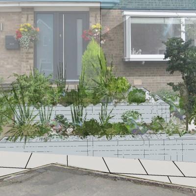 Contemporary front garden design visual, showing gabion walls, Rawdon, Leeds