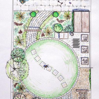 Japanese inspired garden, plan view